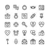 Amore e Valentine Line Vector Icons 9 Fotografia Stock Libera da Diritti