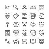 Amore e Valentine Line Vector Icons 17 Fotografia Stock