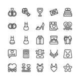 Amore e Valentine Line Vector Icons 14 Fotografie Stock Libere da Diritti