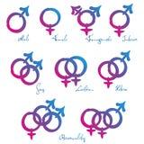 Amore etero lesbico gay di simboli di LGBT Fotografia Stock