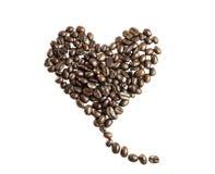 Amore fatto dai chicchi di caffè Fotografia Stock