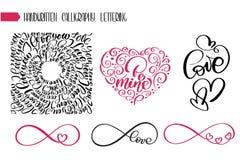 Amore felice del testo di giorno di biglietti di S. Valentino per la cartolina d'auguri Cuori romantici del segno infinito con le illustrazione di stock