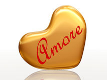 Amore in golden heart Royalty Free Stock Photos