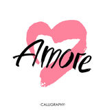 Amore - hand drawn lettering word with pink heart. Vector art. Valentines Day Calligraphy Greeting Card. Stock Images