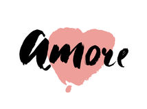 Amore - hand drawn lettering word with pink heart. Vector art. Valentines Day Calligraphy Greeting Card. Royalty Free Stock Images