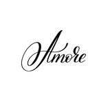 Amore hand written lettering to Valentine`s Day design Stock Images
