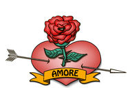 Amore and heart with a rose Stock Photography