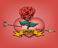 Amore and heart with a rose Royalty Free Stock Photography