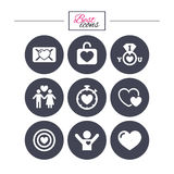 Amore, icone di giorno di S. Valentino Obiettivo con cuore Fotografie Stock Libere da Diritti