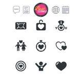Amore, icone di giorno di S. Valentino Obiettivo con cuore Fotografia Stock