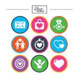 Amore, icone di giorno di S. Valentino Obiettivo con cuore Immagini Stock Libere da Diritti