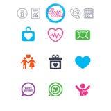 Amore, icone di giorno di S. Valentino Obiettivo con cuore Fotografie Stock