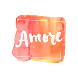 Amore, ink hand lettering. Abstract watercolor background. Stock Images
