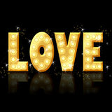 Amore - lettere dorate con incandescenza illustrazione di stock