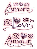 Amore, love, amour. Text amore, love and amour with hearts and ornaments royalty free illustration