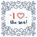 Amore nautico del manifesto I di tipografia l'iscrizione marina del mare Fotografie Stock Libere da Diritti