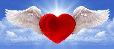 Amore nei precedenti del blu dell'aria Immagine Stock
