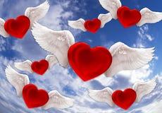 Amore nei precedenti di rosso dell'aria Fotografia Stock Libera da Diritti