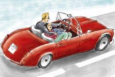 Amore nell'automobile Immagini Stock