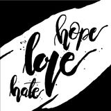 Amore odio di speranza in bianco e nero Fotografia Stock