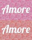 Amore Ordförälskelsen i italienare på bakgrunden av rosa stora och små målade rosor som är röda och vektor illustrationer