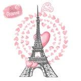 Amore a Parigi Torre Eiffel, cuori dell'acquerello Fotografia Stock
