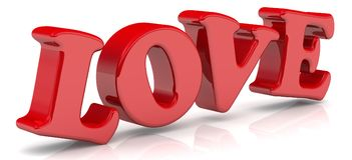 Amore Parola rossa Fotografie Stock Libere da Diritti