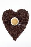 Amore per i chicchi di caffè Immagini Stock
