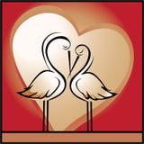 Amore, priorità bassa del biglietto di S. Valentino con gli uccelli royalty illustrazione gratis