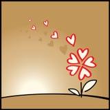 Amore, priorità bassa del biglietto di S. Valentino con il fiore illustrazione vettoriale