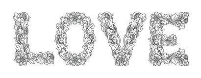 AMORE, progettazione floreale Ornamento basato su arte di balinese Illustrazione Vettoriale