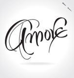 AMORE ręki literowanie () Zdjęcie Stock