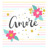 Amore romantic poster Royalty Free Stock Image