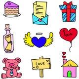Amore romanzesco dell'oggetto degli scarabocchi illustrazione di stock
