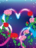 Amore rosa del biglietto di S. Valentino luminoso Fotografie Stock Libere da Diritti