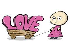 Amore rosa sul carretto Fotografia Stock Libera da Diritti