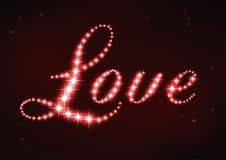 Amore rosso stilizzato di parola nello stile della costellazione della stella Fotografie Stock Libere da Diritti