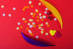 Amore St Giorno del ` s del biglietto di S Bei cuori Fotografie Stock Libere da Diritti