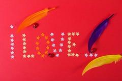 Amore St Giorno del ` s del biglietto di S Bei cuori Immagine Stock