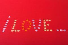 Amore St Giorno del ` s del biglietto di S Bei cuori Fotografie Stock