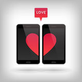 Amore sul telefono Fotografie Stock Libere da Diritti