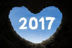 Amore sulla caverna con il numero 2017 Fotografia Stock