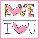 Amore - ti amo - messaggio - biglietto di S. Valentino Fotografia Stock