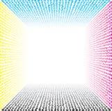 Amorfe uiterst kleine vormen die uit 3D vervormd, langzaam verdwijnend kader in CMYK-kleuren bestaan Stock Afbeeldingen