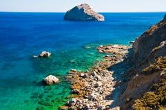 amorgos海岸线海岛 免版税库存图片
