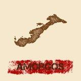 Amorgos a affligé la carte Images stock