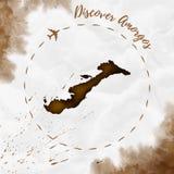 Amorgos akwareli wyspy mapa w sepiowych kolorach ilustracji