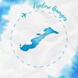Amorgos akwareli wyspy mapa w turkusowych kolorach royalty ilustracja