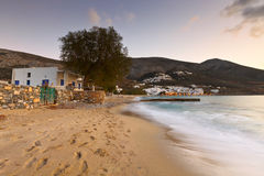 Amorgos island. Aegiali village as seen from the beach, Amorgos island Stock Photos