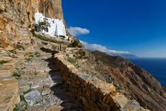 Amorgos island. Monastery of Panagia Hozoviotissa on Amorgos island Stock Photography